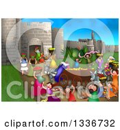 Clipart Of A Shavout Scene Of People Bringing First Fruits And Laying Them On The Steps Of The Temple In Jerusalem For The Feast Of Weeks Royalty Free Illustration