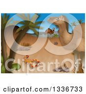 Clipart Of A Desert Scene With A Scorpion And Camels By Palm Trees Royalty Free Illustration