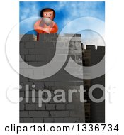 Clipart Of A Habakkuk Taking His Stand At His Watchpost On The Tower Royalty Free Illustration