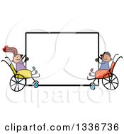 Doodled Disabled Boy And Girl In Wheelchairs Holding A Blank Sign
