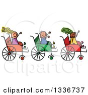 Doodled Disabled Boy And Girls Waving And Playing In Wheelchairs