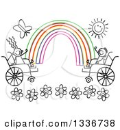 Doodled Black And White Disabled Boy And Girl In Wheelchairs Waving At The Ends Of A Colorful Rainbow With A Happy Sun And Butterfly Over Flowers