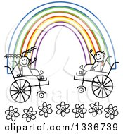 Clipart Of A Doodled Black And White Disabled Boy And Girl In Wheelchairs Waving At The Ends Of A Colorful Rainbow Over Flowers Royalty Free Vector Illustration