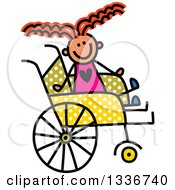 Doodled Disabled Red Haired Caucasian Girl In A Polka Dot Wheelchair