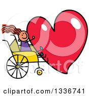 Clipart Of A Doodled Disabled Red Haired Caucasian Girl In A Wheelchair Holding A Giant Red Heart Royalty Free Vector Illustration