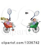 Doodled Disabled Boy And Girl Playing Badminton In Wheelchairs