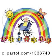 Clipart Of A Doodled Disabled Boy In A Wheelchair Cheering Under A Rainbow And Happy Sun With A Butterfly And Flowers Royalty Free Vector Illustration