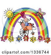 Clipart Of A Doodled Disabled Girl In A Wheelchair Cheering Under A Rainbow And Happy Sun With A Butterfly And Flowers Royalty Free Vector Illustration