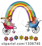 Clipart Of A Doodled Disabled Boy And Girl In Wheelchairs Waving At Ends Of The Rainbow Over Flowers Royalty Free Vector Illustration
