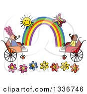 Doodled Disabled Boy And Girl Playing Over Flowers With A Rainbow Butterfly And Sun In Wheelchairs