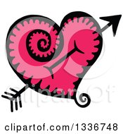 Sketched Doodle Of Cupids Arrow Through A Pink Heart With A Spiral Tail