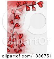Clipart Of A Red Fade And Heart Vine Valentines Day Border With White Text Space Royalty Free Illustration