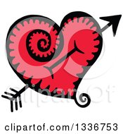 Clipart Of A Sketched Doodle Of Cupids Arrow Through A Red Heart With A Spiral Tail Royalty Free Vector Illustration by Prawny