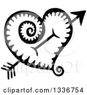Clipart Of A Sketched Doodle Of A Black And White Cupids Arrow Through A Heart With A Spiral Tail Royalty Free Vector Illustration