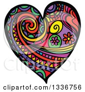 Clipart Of A Colorful Folk Art Patterned Heart Royalty Free Vector Illustration