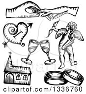 Clipart Of Black And White Sketched Doodles Of Wedding Hands A Heart Champagne Cupid Church And Rings Royalty Free Vector Illustration