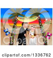 Clipart Of A Happy Caucasian Wedding Couple Getting Married In An Exotic Desert Sunset Landscape With Butterflies Royalty Free Illustration by Prawny