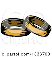 Clipart Of A Sketched Doodle Of Golden Wedding Bands Royalty Free Vector Illustration