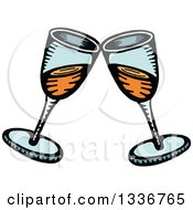 Clipart Of A Sketched Doodle Of Clinking Champagne Glasses Royalty Free Vector Illustration