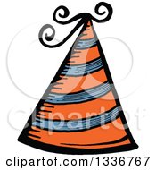 Clipart Of A Sketched Doodle Of An Orange Party Hat Royalty Free Vector Illustration