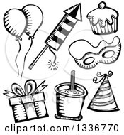 Clipart Of Sketched Doodles Of Black And White Party Items Royalty Free Vector Illustration by Prawny
