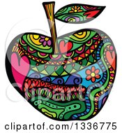 Clipart Of A Colorful Folk Art Patterned Apple Royalty Free Vector Illustration