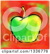 Clipart Of A Screentone Textured Sketched Green Apple Over Red Royalty Free Illustration by Prawny