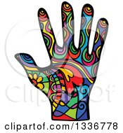 Clipart Of A Colorful Patterned Folk Art Human Hand Royalty Free Vector Illustration