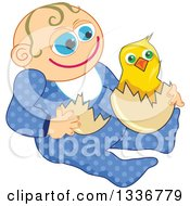 Clipart Of A Happy Caucasian Baby Boy With An Easter Chick Royalty Free Vector Illustration by Prawny