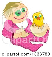 Poster, Art Print Of Happy Caucasian Baby Girl With An Easter Chick
