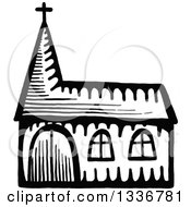 Clipart Of A Sketched Doodle Of A Black And White Church Building Royalty Free Vector Illustration