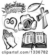 Clipart Of Sketched Doodles Of Black And White Christian Icons Royalty Free Vector Illustration