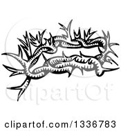 Clipart Of A Sketched Doodle Of A Black And White Christian Crown Of Thorns Royalty Free Vector Illustration