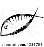 Clipart Of A Sketched Doodle Of A Black And White Ichthus Christian Fish Royalty Free Vector Illustration