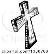 Clipart Of A Sketched Doodle Of A Black And White Wooden Christian Cross Royalty Free Vector Illustration