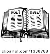 Clipart Of A Sketched Doodle Of A Black And White Open Holy Bible Royalty Free Vector Illustration by Prawny