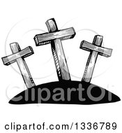 Clipart Of A Sketched Black And White Doodle Of Easter Calvary Crosses Royalty Free Vector Illustration