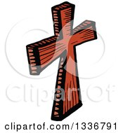 Clipart Of A Sketched Doodle Of A Wooden Christian Cross Royalty Free Vector Illustration by Prawny