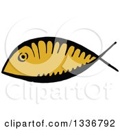 Clipart Of A Sketched Doodle Of A Ichthus Christian Fish Royalty Free Vector Illustration