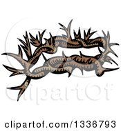Clipart Of A Sketched Doodle Of A Christian Crown Of Thorns Royalty Free Vector Illustration