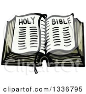 Clipart Of A Sketched Doodle Of An Open Holy Bible Royalty Free Vector Illustration by Prawny