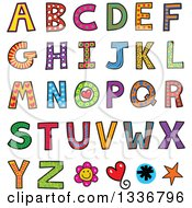 Clipart Of A Colorful Patterned Capital Letter Alphabet With A Flower Heart And Stars Royalty Free Vector Illustration