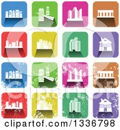 Clipart Of Colorful Square Shaped Architecture Icons With Rounded Corners Clean And Distressed Grungy Versions Royalty Free Vector Illustration