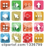 Clipart Of Colorful Square Shaped Arrow Icons With Rounded Corners Clean And Distressed Grungy Versions Royalty Free Vector Illustration by Prawny