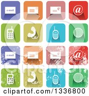 Clipart Of Colorful Square Shaped Communications Icons With Rounded Corners Clean And Distressed Grungy Versions Royalty Free Vector Illustration by Prawny