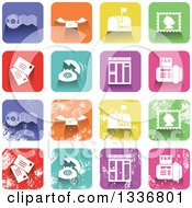 Clipart Of Colorful Square Shaped Communication Icons With Rounded Corners Clean And Distressed Grungy Versions Royalty Free Vector Illustration
