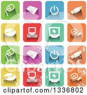 Clipart Of Colorful Square Shaped Computer Icons With Rounded Corners Clean And Distressed Grungy Versions Royalty Free Vector Illustration
