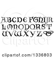 Clipart Of Black And White Vintage Styled Capital Alphabet Letters Royalty Free Vector Illustration