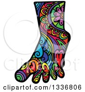 Clipart Of A Colorful Patterned Folk Art Human Foot Royalty Free Vector Illustration by Prawny
