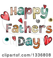 Clipart Of Patterned Sketched Happy Fathers Day Text With Hearts And Spirals Royalty Free Vector Illustration
